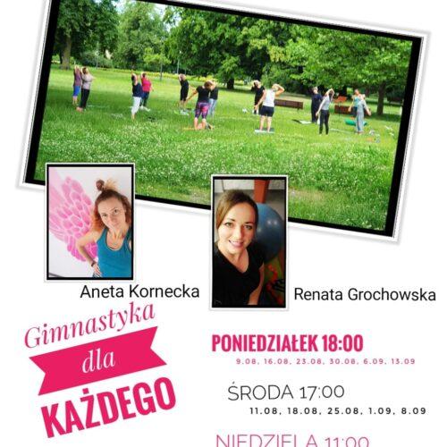 Gimnastyka dla dorosłych oraz animacje dla dzieci w Parku Miejskim w Piasecznie